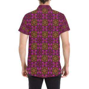 kaleidoscope Abstract Print Design Button Up Shirt-kunshirts.com