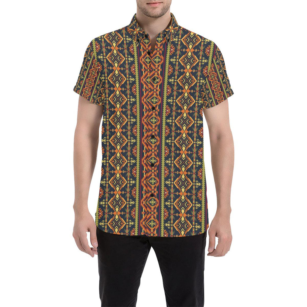 Kente Classic Design African Print Button Up Shirt-kunshirts.com