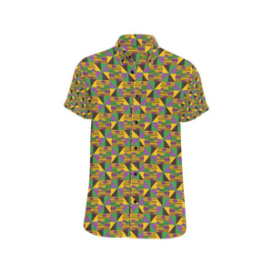 Kente Triangle Design African Print Button Up Shirt-kunshirts.com