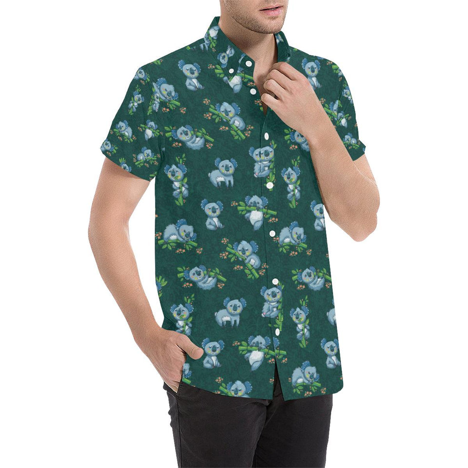 Koala Blue Design Print Button Up Shirt-kunshirts.com