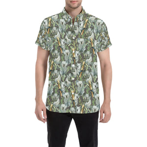 Koala Pattern Design Print Button Up Shirt-kunshirts.com