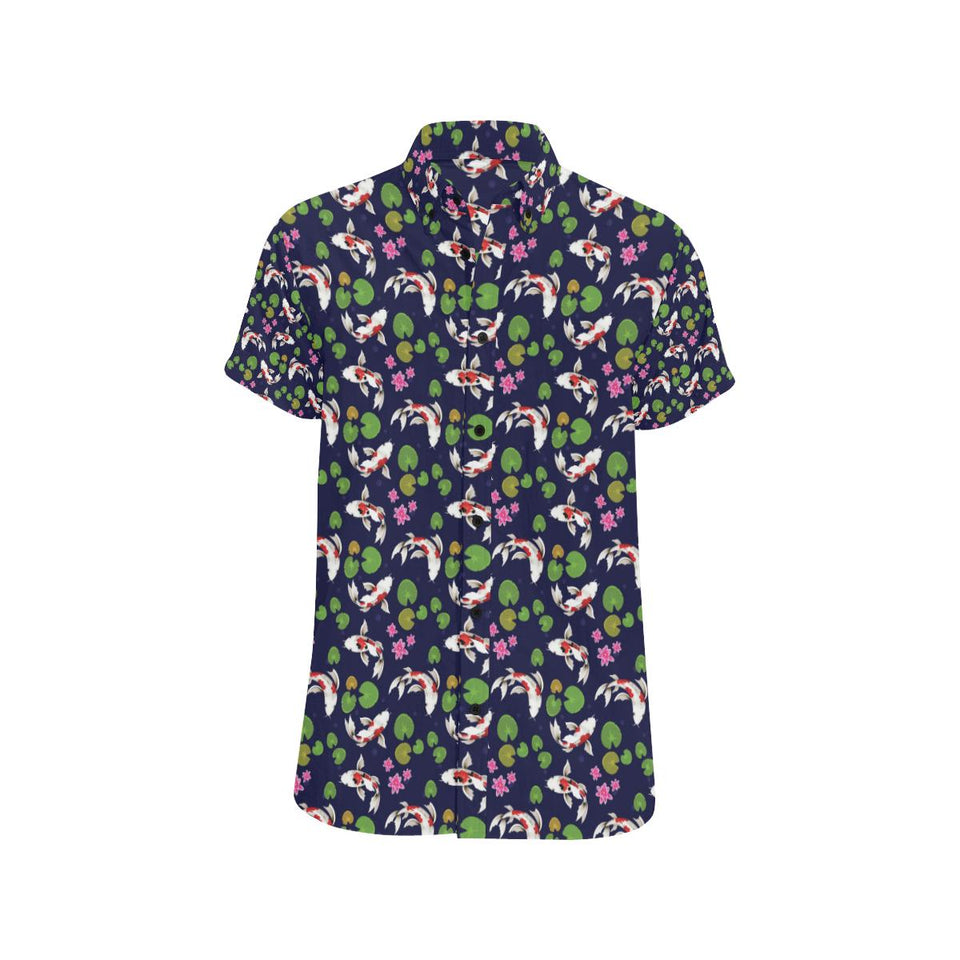 Koi Carp Pattern Design Themed Print Button Up Shirt-kunshirts.com