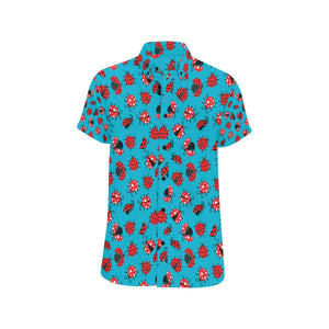 Ladybug Action Print Pattern Button Up Shirt-kunshirts.com