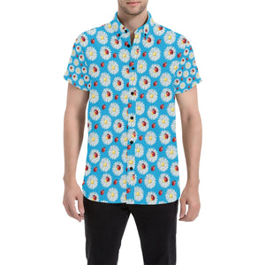Ladybug with Daisy Themed Print Pattern Button Up Shirt-kunshirts.com