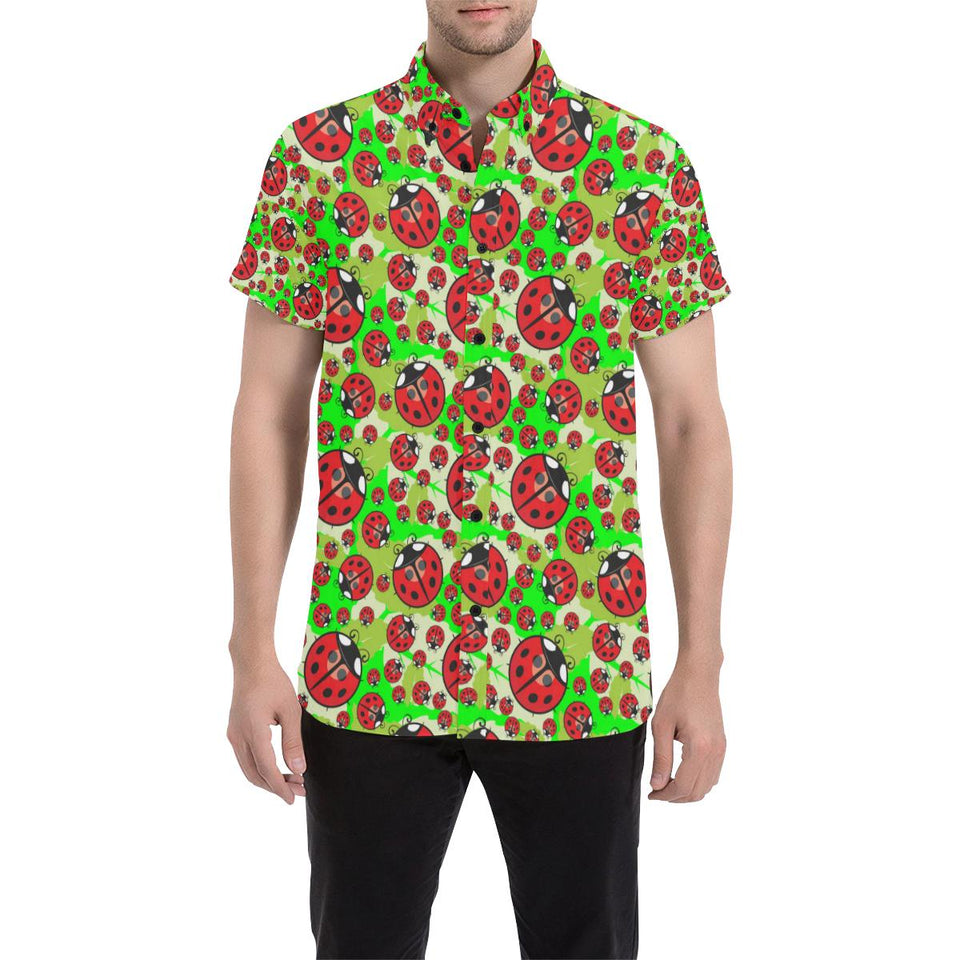 Ladybug with Leaf Print Pattern Button Up Shirt-kunshirts.com