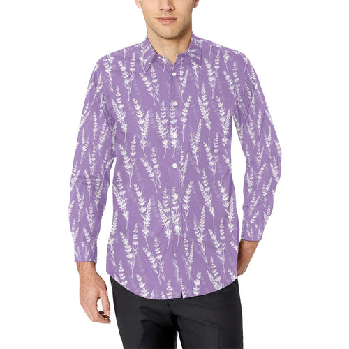 Lavender Pattern Print Design LV08 Long Sleeve Dress Shirt-kunshirts.com