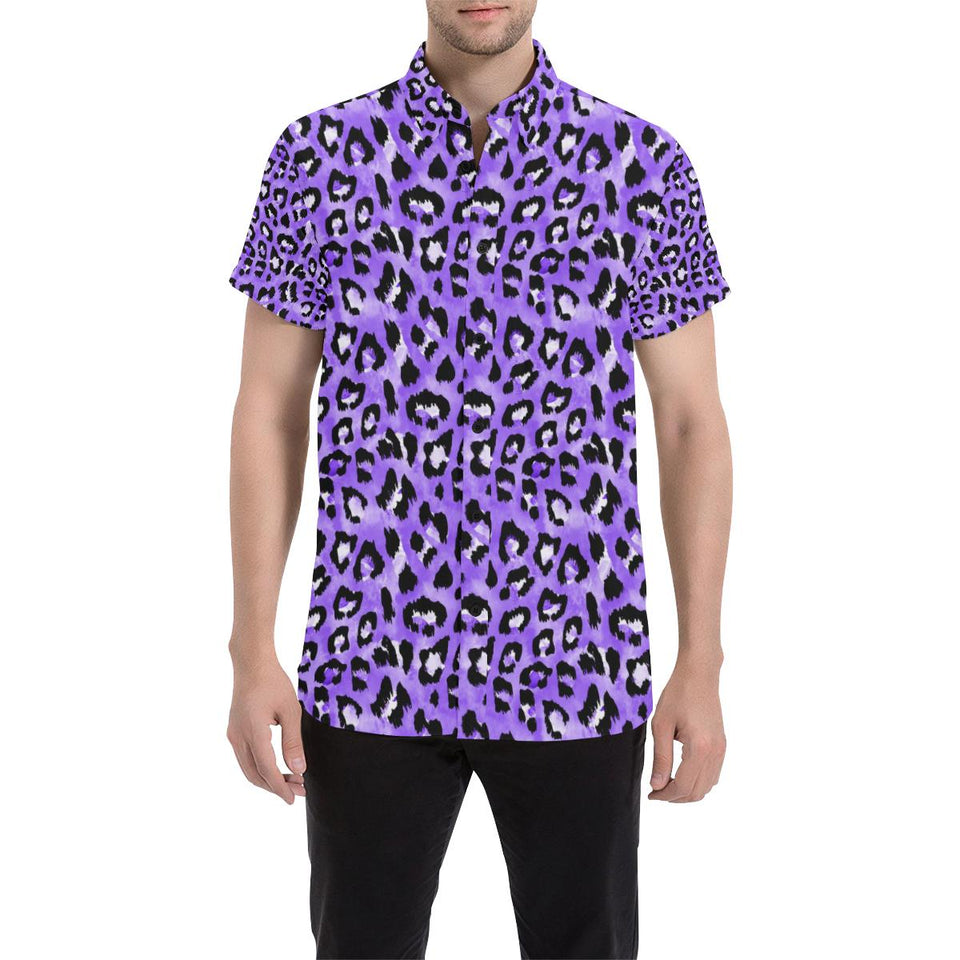 Leopard Purple Skin Print Button Up Shirt-kunshirts.com