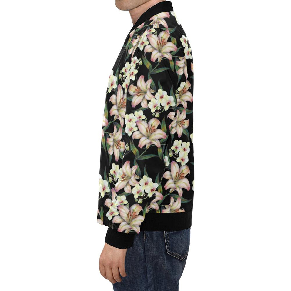 Lily Pattern Print Design LY03 Men Bomber Jacket-kunshirts.com