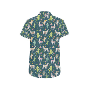 Llama with Cactus Design Print Button Up Shirt-kunshirts.com