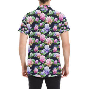 Lotus Flower Print Design Button Up Shirt-kunshirts.com