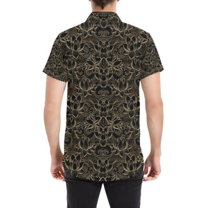 Lotus Gold Mandala Design Themed Button Up Shirt-kunshirts.com