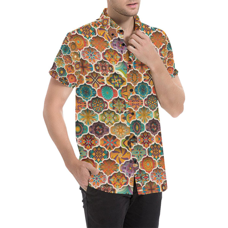 Mandala Mosaic Themed Design Print Button Up Shirt-kunshirts.com