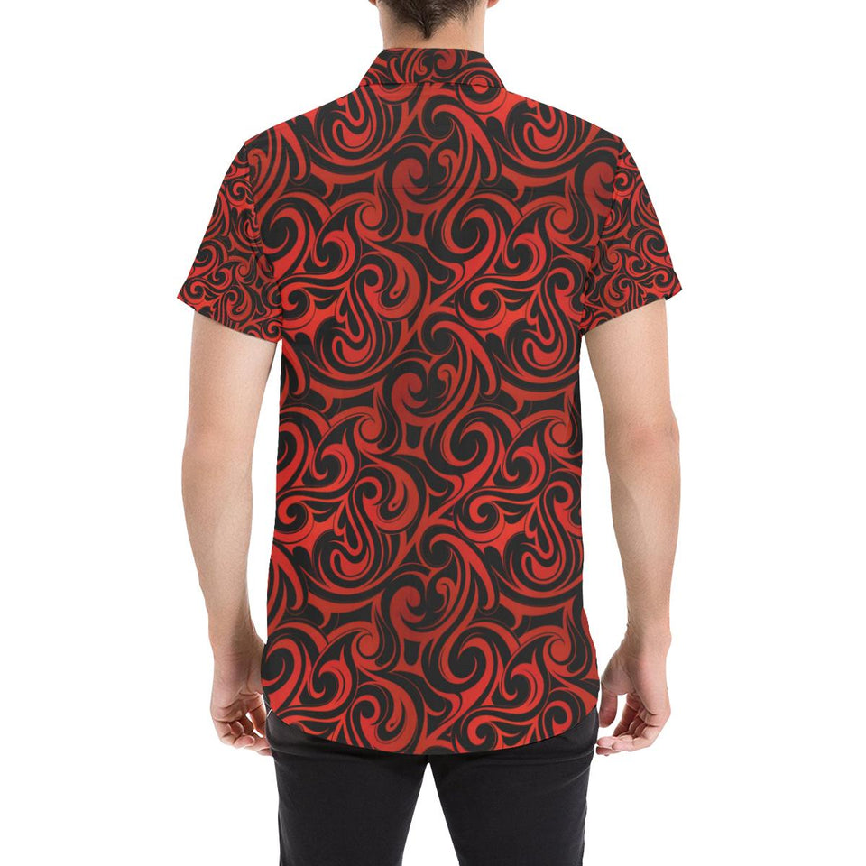 Maori Red Black Themed Design Button Up Shirt-kunshirts.com