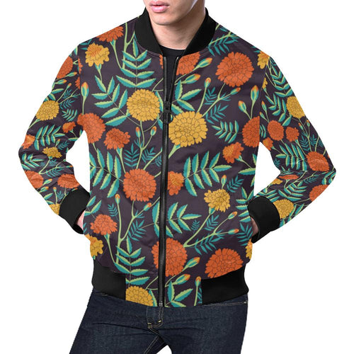 Marigold Pattern Print Design MR01 Men Bomber Jacket-kunshirts.com