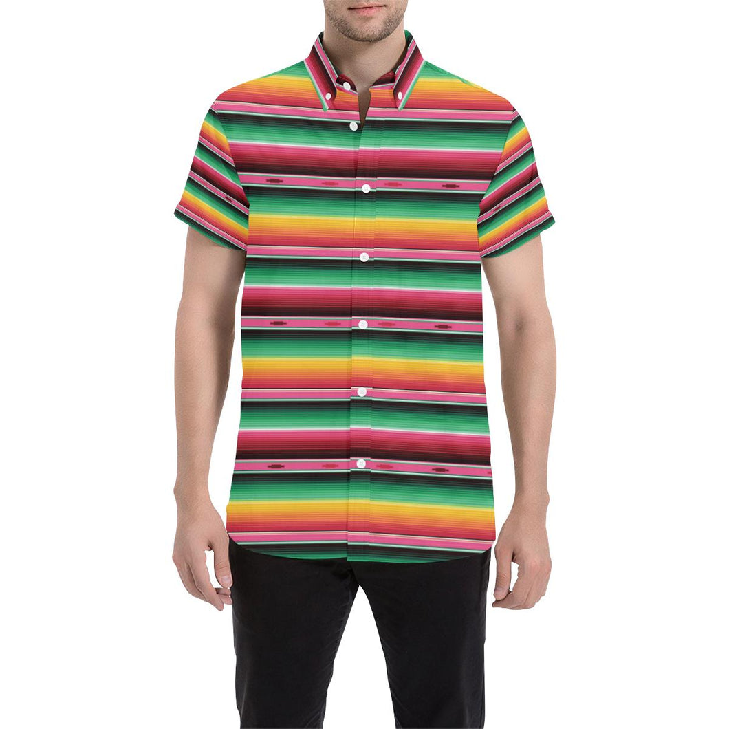 Mexican Blanket Classic Print Pattern Button Up Shirt-kunshirts.com