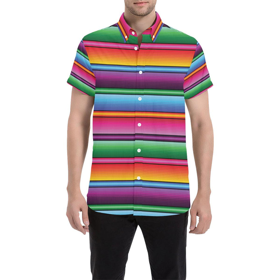 Mexican Blanket Colorful Print Pattern Button Up Shirt-kunshirts.com