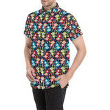 Monkey Colorful Design Themed Print Button Up Shirt-kunshirts.com