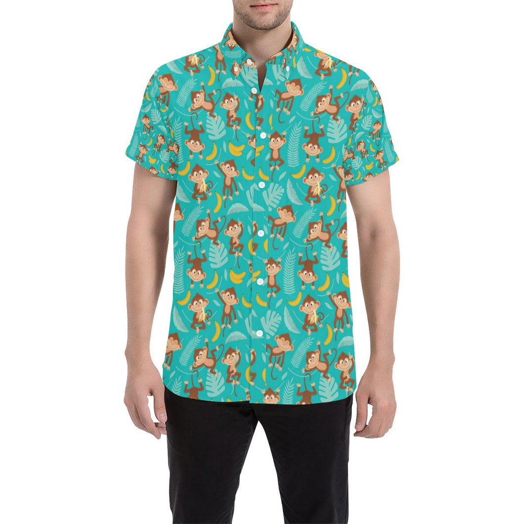 Monkey Happy Design Themed Print Button Up Shirt-kunshirts.com