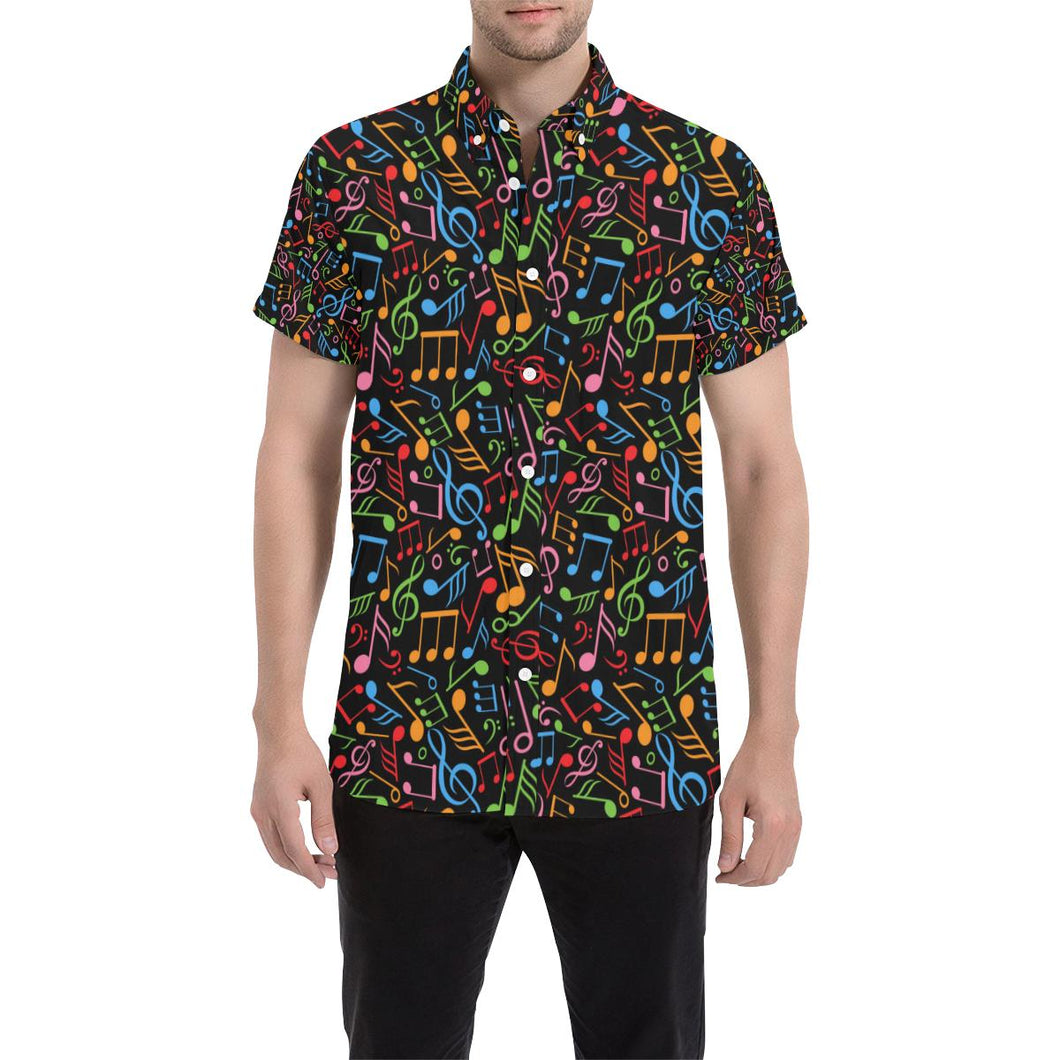 Music Note Colorful Themed Print Button Up Shirt-kunshirts.com