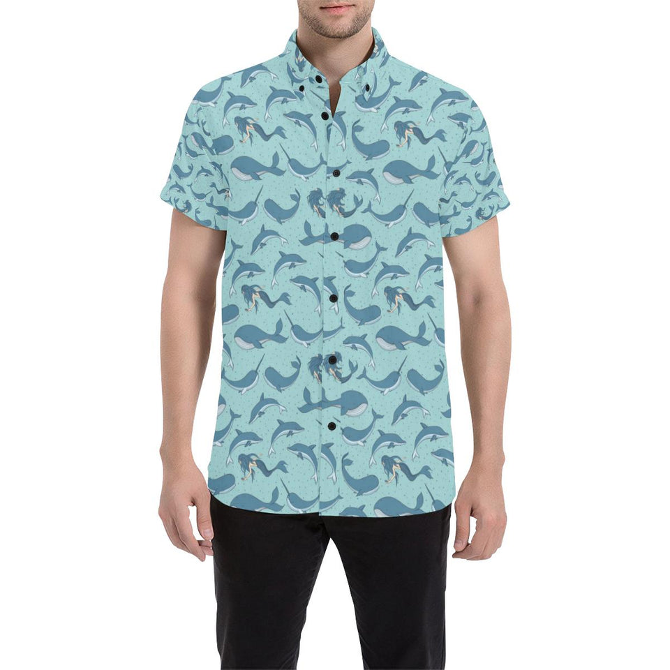 Narwhal Themed Print Button Up Shirt-kunshirts.com