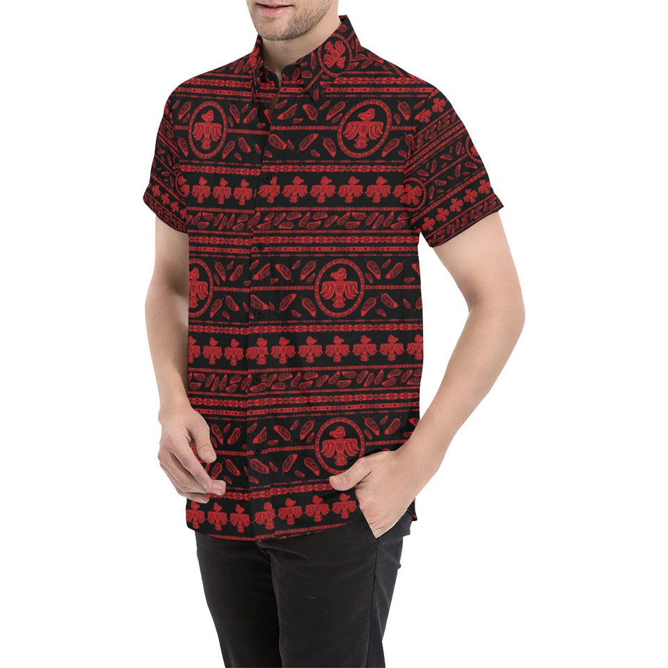 Native American Eagle Themed Print Button Up Shirt-kunshirts.com