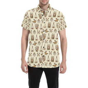 Native Indian Pattern Design Print Button Up Shirt-kunshirts.com