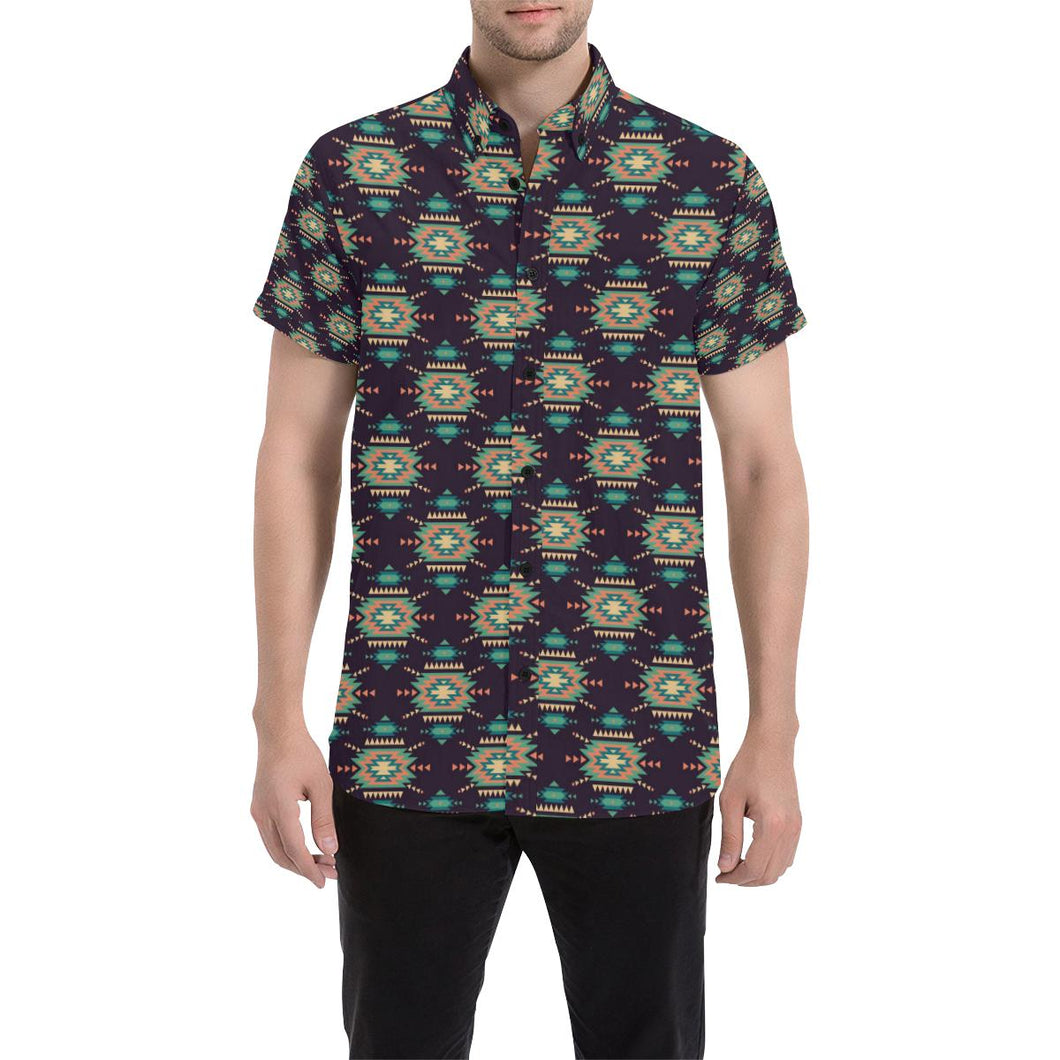 Navajo Geometric Style Print Pattern Button Up Shirt-kunshirts.com