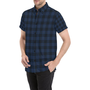 Navy Blue Tartan Plaid Pattern Button Up Shirt-kunshirts.com