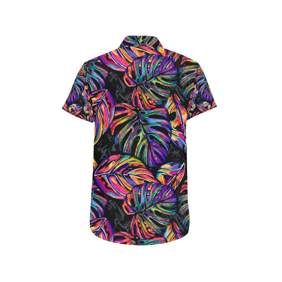 Neon Color Tropical Palm Leaves Button Up Shirt-kunshirts.com