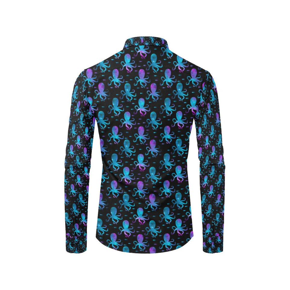 Octopus Blue Design Print Themed Long Sleeve Dress Shirt-kunshirts.com