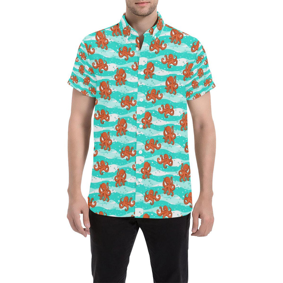 Octopus Cute Design Print Themed Button Up Shirt-kunshirts.com