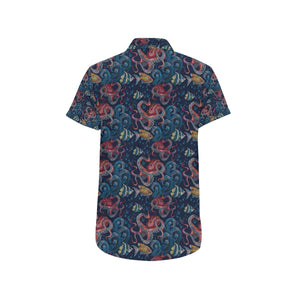 Octopus Deep Sea Print Themed Button Up Shirt-kunshirts.com