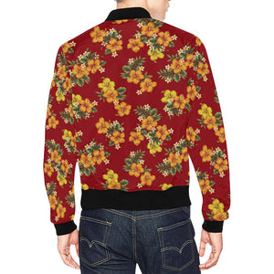 Orange Hibiscus Pattern Print Design HB026 Men Bomber Jacket-kunshirts.com