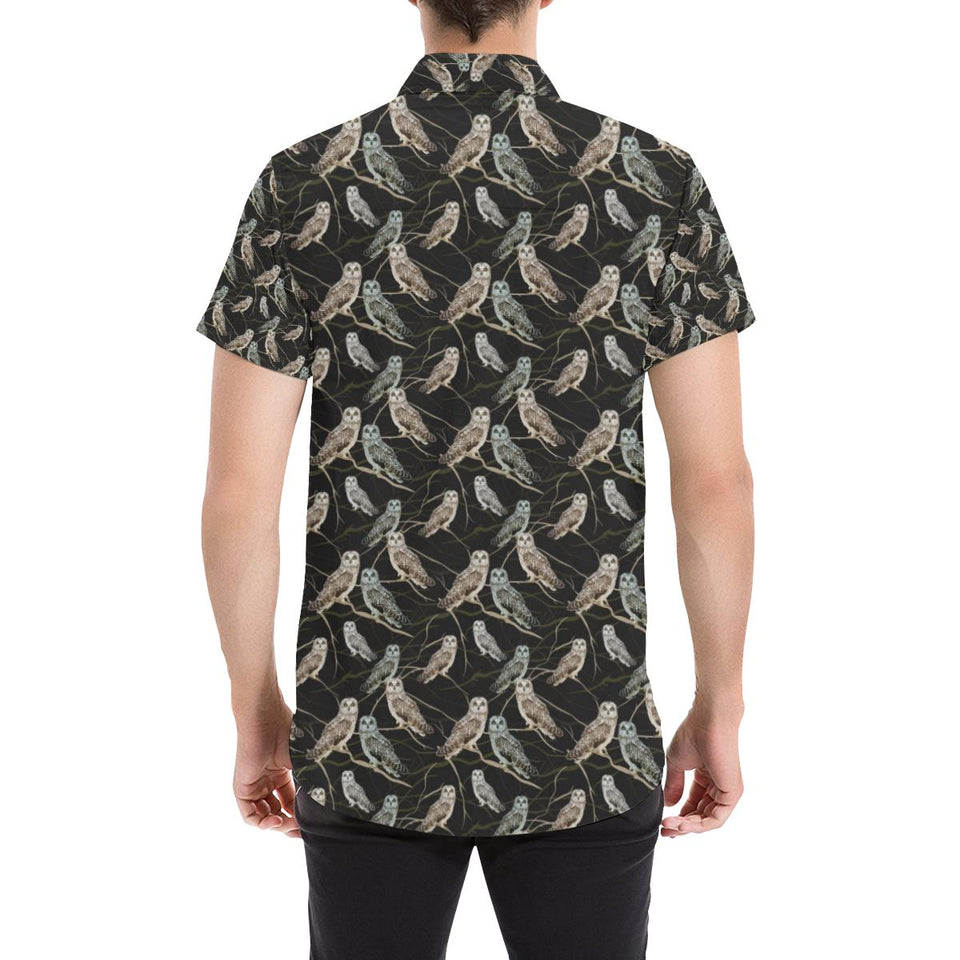Owl Branch Themed Design Print Button Up Shirt-kunshirts.com