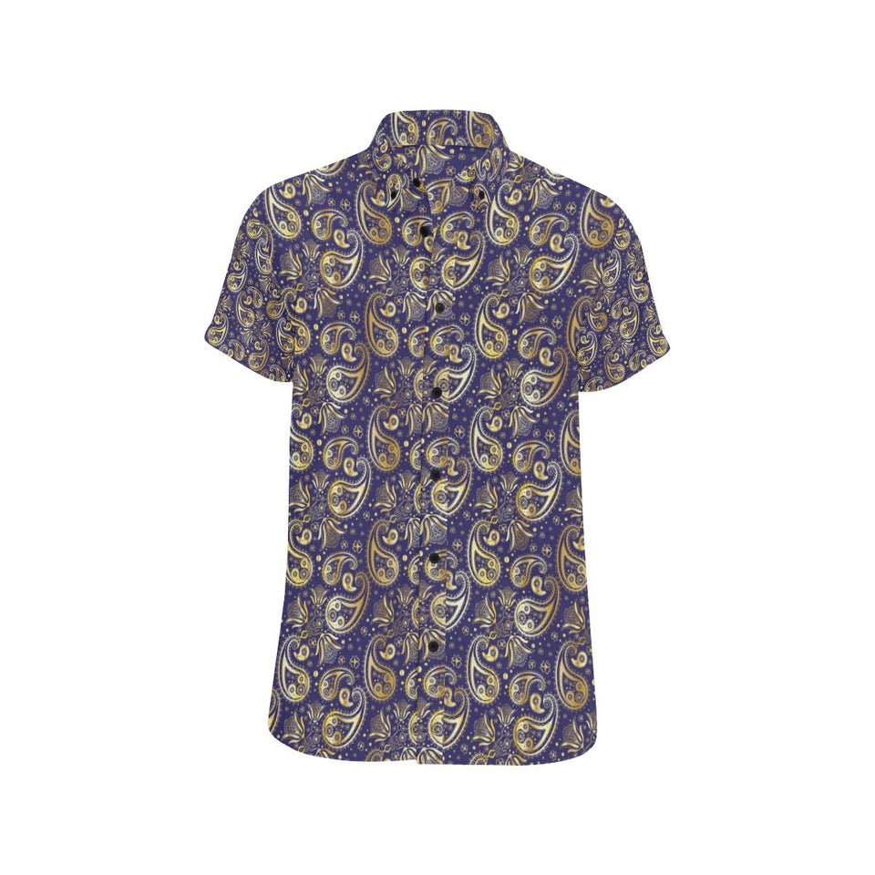 Paisley Blue Yellow Design Print Button Up Shirt-kunshirts.com