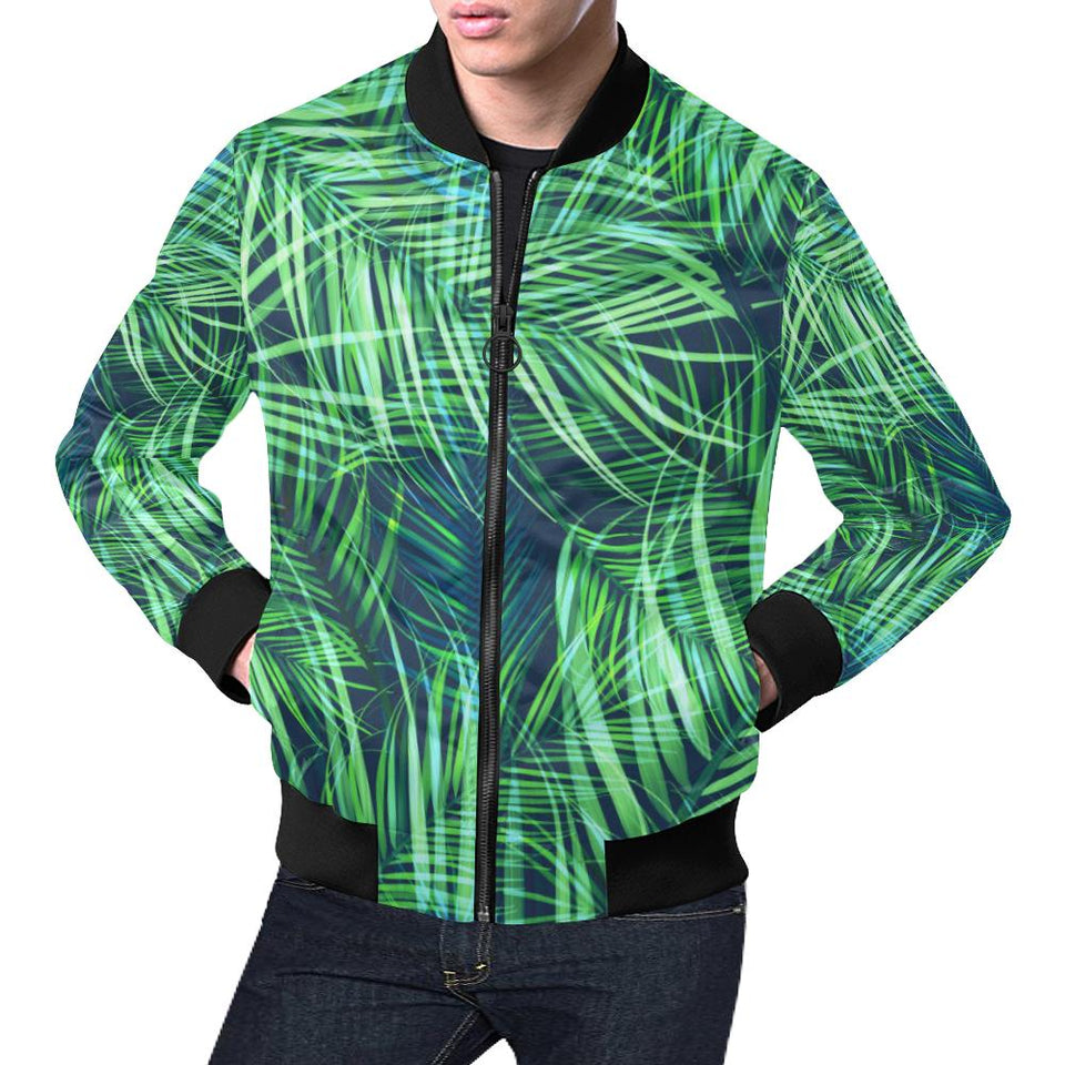 Palm Leaves Pattern Print Design PL02 Men Bomber Jacket-kunshirts.com