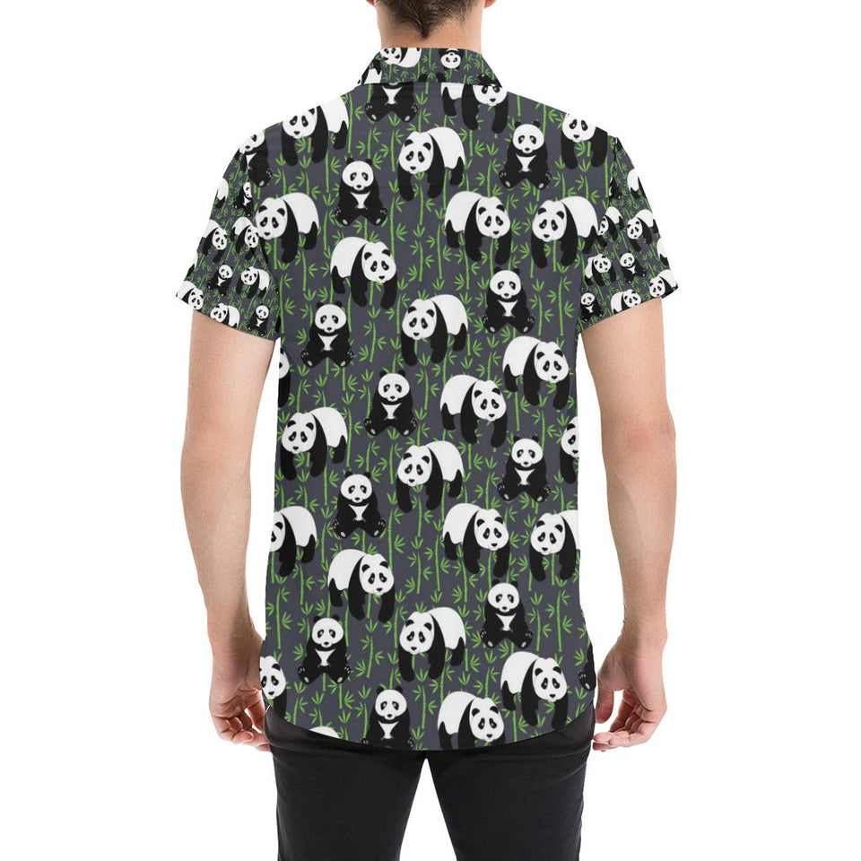 Panda Bear Bamboo Themed Print Button Up Shirt-kunshirts.com