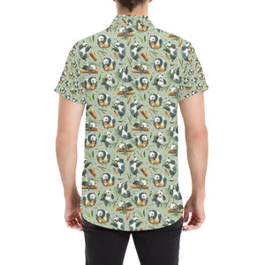 Panda Bear Design Bamboo Print Button Up Shirt-kunshirts.com