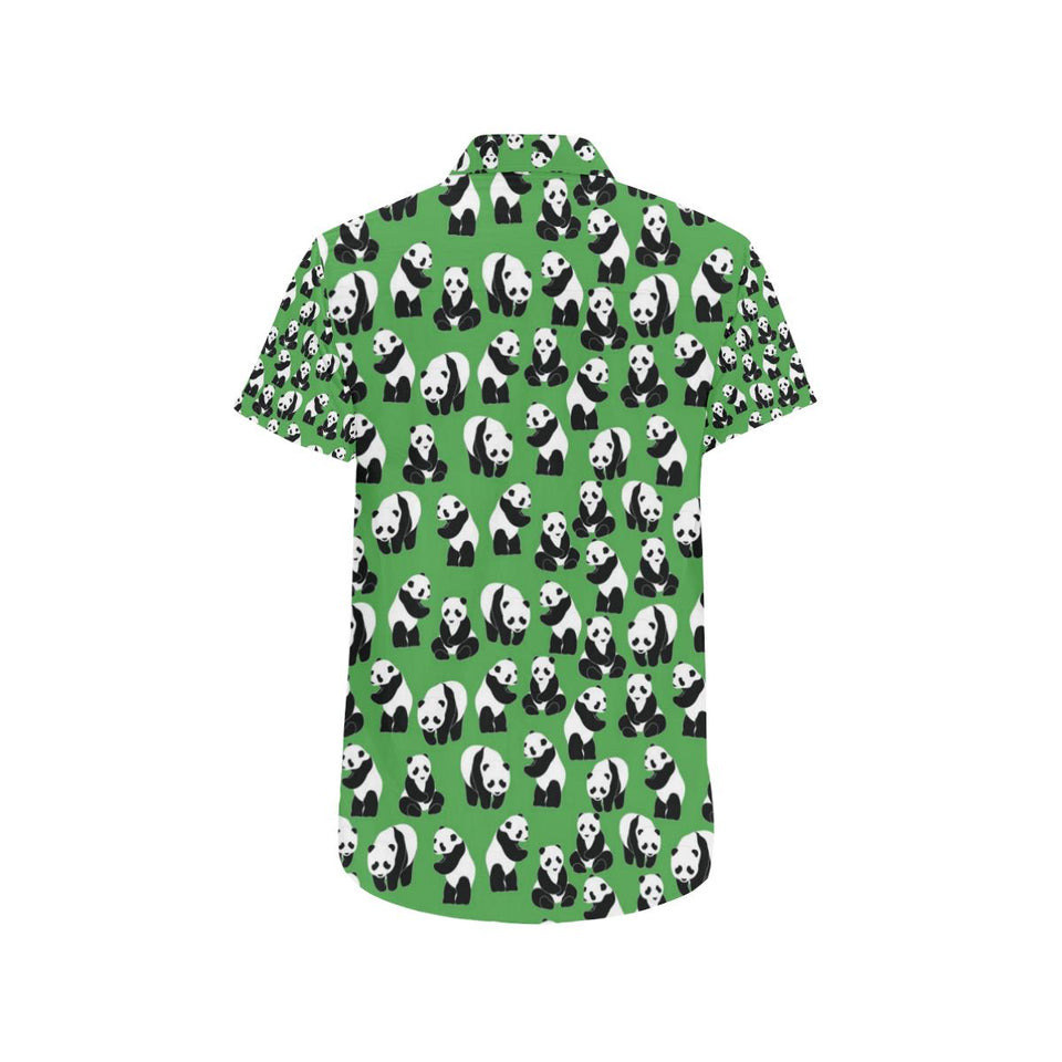 Panda Bear Pattern Themed Print Button Up Shirt-kunshirts.com