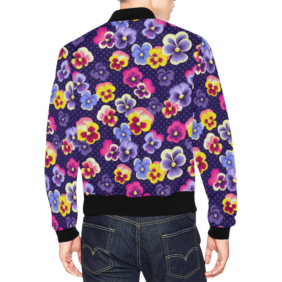 Pansy Pattern Print Design PS04 Men Bomber Jacket-kunshirts.com