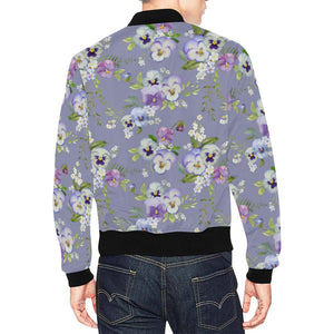 Pansy Pattern Print Design PS05 Men Bomber Jacket-kunshirts.com