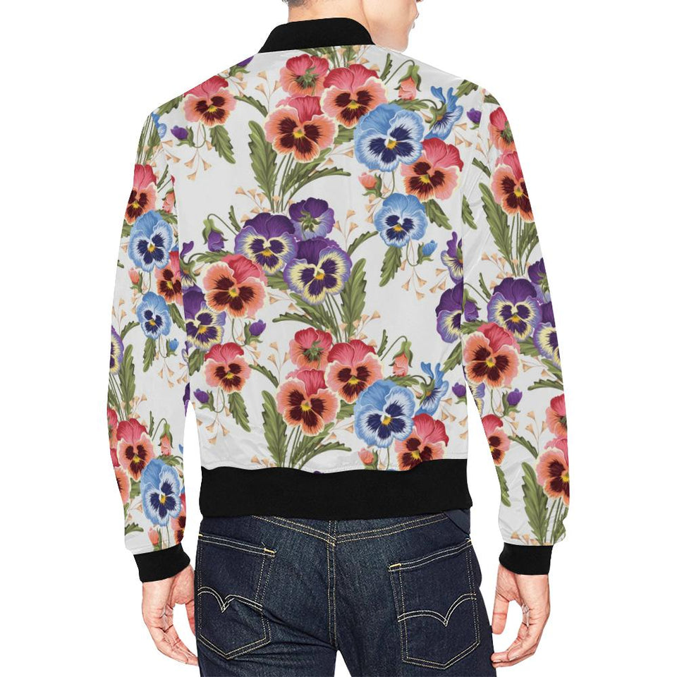 Pansy Pattern Print Design PS06 Men Bomber Jacket-kunshirts.com