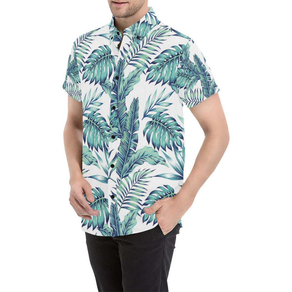 Pattern Tropical Palm Leaves Button Up Shirt-kunshirts.com