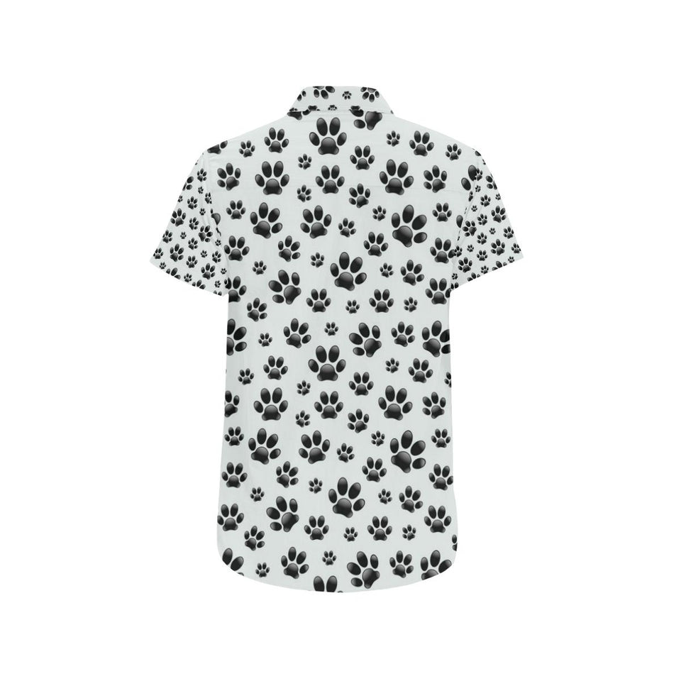 Paw Themed Print Button Up Shirt-kunshirts.com