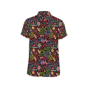 Peace Sign Colorful Design Print Button Up Shirt-kunshirts.com