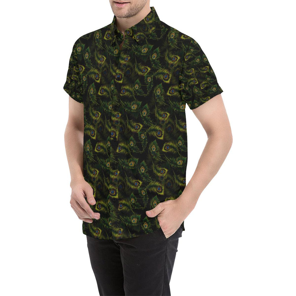 Peacock Feather Pattern Design Print Button Up Shirt-kunshirts.com