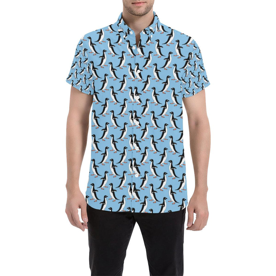 Penguin Dance Pattern Button Up Shirt-kunshirts.com