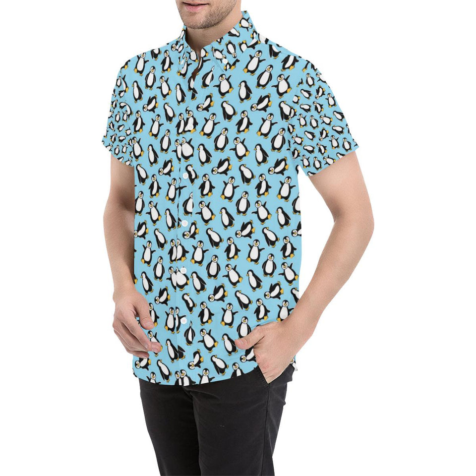 Penguin Happy Print Button Up Shirt-kunshirts.com