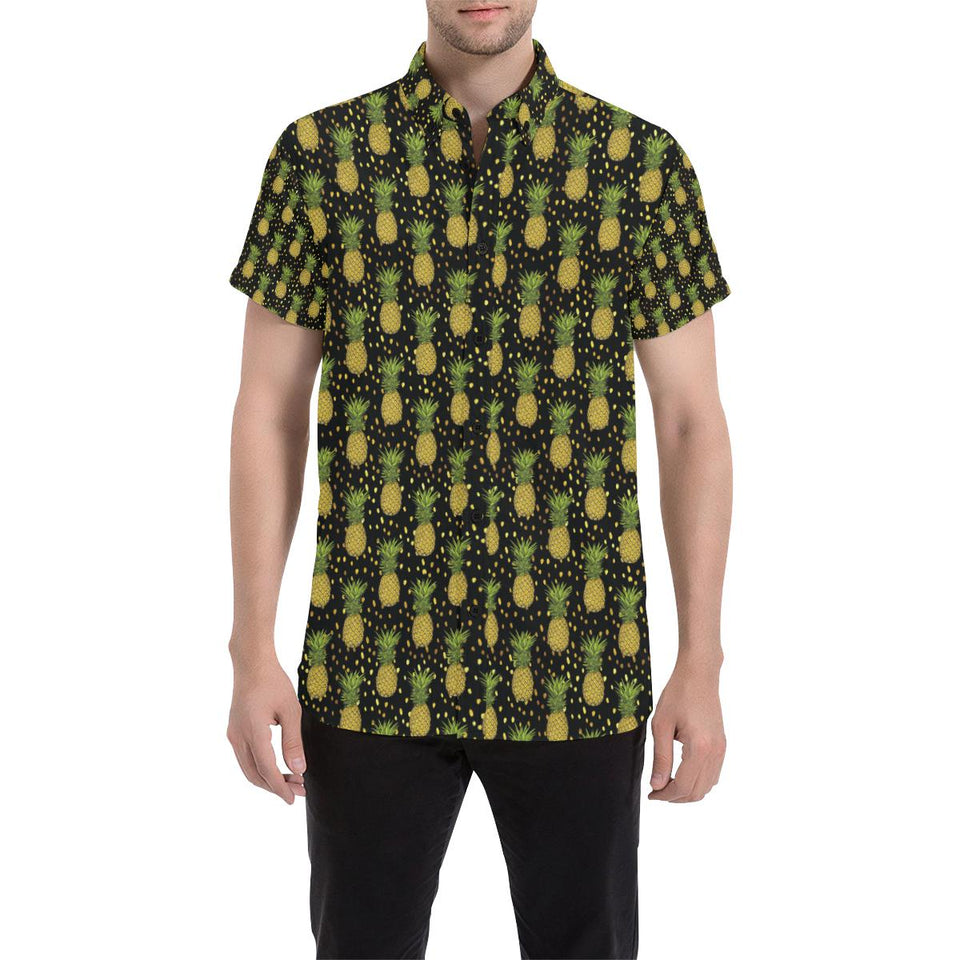 Pineapple Gold Dot Themed Print Button Up Shirt-kunshirts.com
