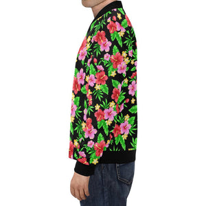 Pink Red Hibiscus Pattern Print Design HB023 Men Bomber Jacket-kunshirts.com